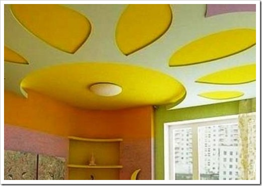 Покраска двухуровневого потолка из гипсокартона.