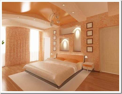 Дизайн потолков из гипсокартона в спальне.