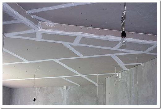 Шпатлевка потолка из ГКЛ.