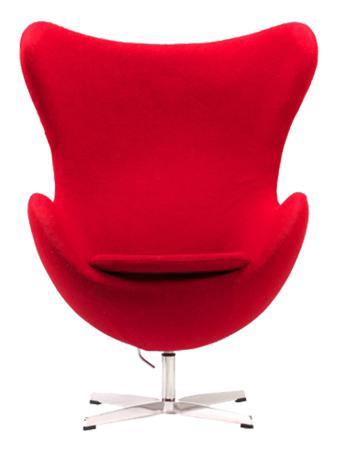 Купить Кресло Egg Chair Красное 100% Кашемир