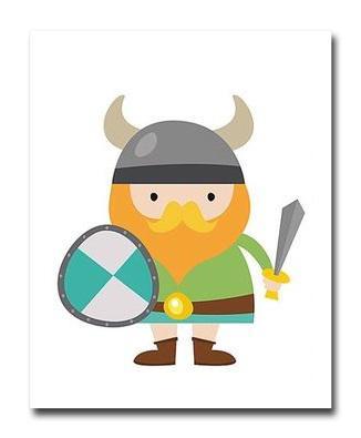 Купить Постер Викинг Мальчик Щит и Меч А3