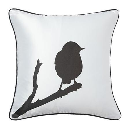 Купить Подушка с птичкой на ветке Lone Bird White
