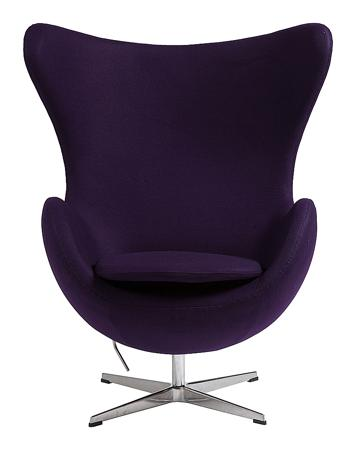 Купить Кресло Egg Chair Тёмно-фиолетовое 100% Шерсть