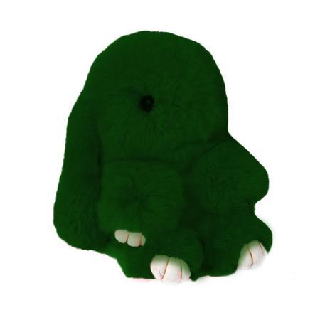 Купить Меховой Зайка Брелок Тёмно- зелёный