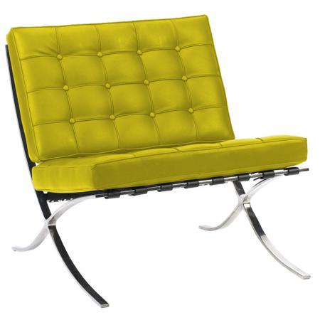 Купить Кресло Barcelona Chair Лимонная Экокожа