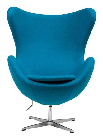 Купить Кресло Egg Chair Голубое 100% Кашемир