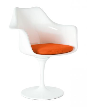 Купить Кресло Tulip Armchair Бело-оранжевое Шерсть
