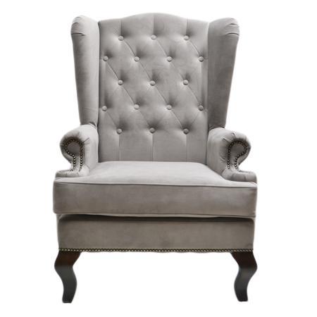 Купить Каминное кресло с ушами Велюр Тёмно-серый