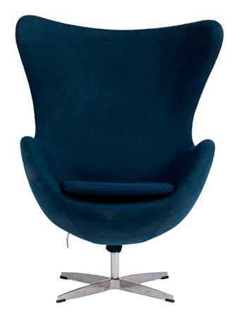 Купить Кресло Egg Chair Серо-синее 100% Кашемир