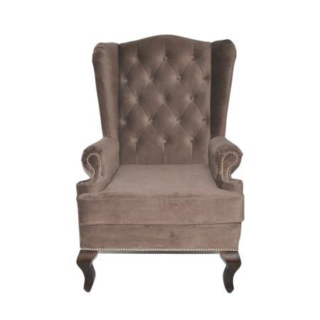 Купить Каминное кресло с ушами Велюр Серо-коричневый