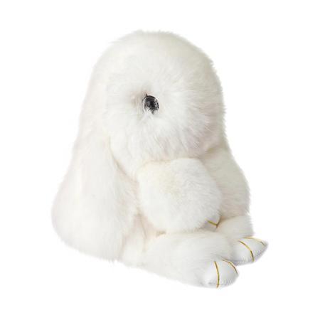 Купить Меховой Зайка Брелок Белый