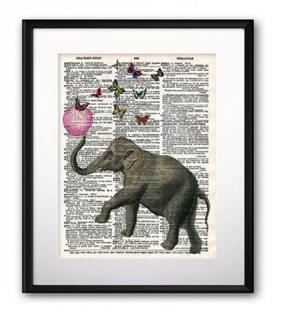 Купить Постер Elephant and Balloon А4