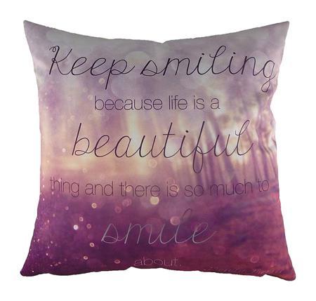 Купить Подушка с принтом Keep Smiling