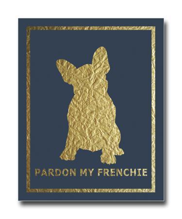 Купить Постер French Dog на синем фоне A4