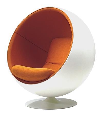 Купить Кресло Eero Ball Chair Бело-оранжевое Шерсть