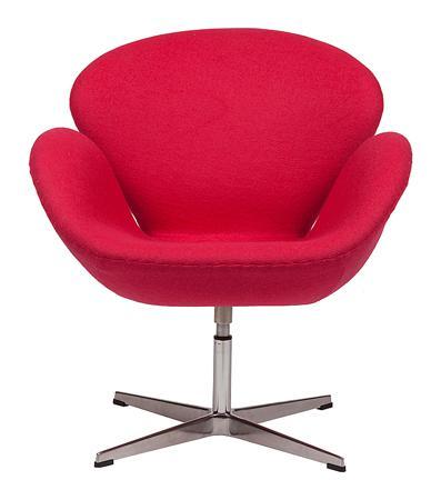 Купить Кресло Swan Chair Ярко-красная Шерсть