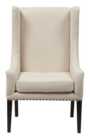 Купить Кресло Nailhead Fabric Armchair Белый Лен