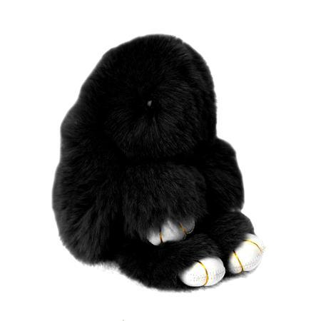 Купить Меховой Зайка Брелок Чёрный