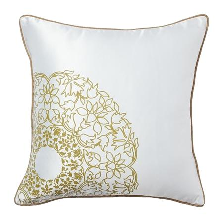 Купить Подушка с золотыми цветами Flower Weaving White