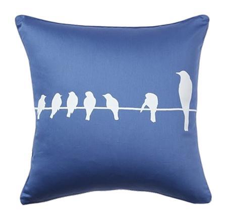 Купить Подушка с птичками Birdies On A Wire Diamond-Blue