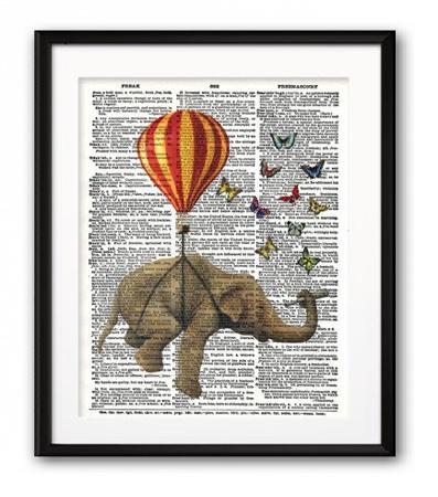 Купить Постер Слон и Бабочки А4