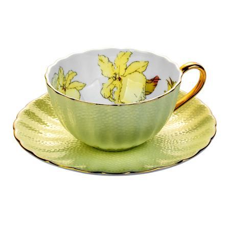 Купить Чайная пара с цветами Arista Жёлтая