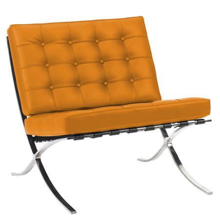 Купить Кресло Barcelona Chair Оранжевая Кожа Класса Премиум
