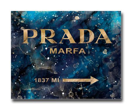 Купить Постер Prada Mafia на синем в золотом A3