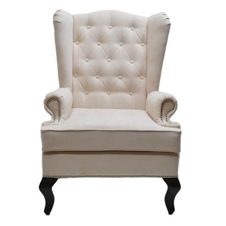 Купить Каминное кресло с ушами Велюр Молочный