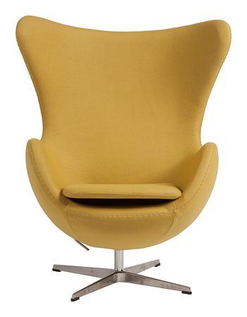 Купить Кресло Egg Chair Жёлтое 100% Кашемир