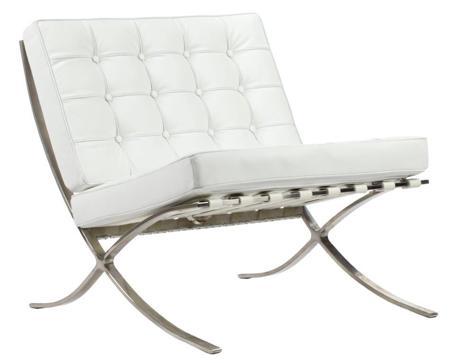 Купить Кресло Barcelona Chair Белая Кожа Класса Премиум