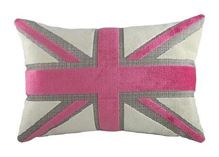 Купить Подушка с британским флагом Pink Velvet