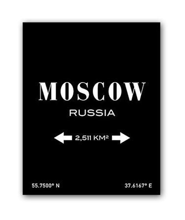 Купить Постер Moscow А3 (черный)