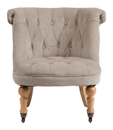 Купить Кресло Amelie French Country Chair Серо-бежевый Вельвет