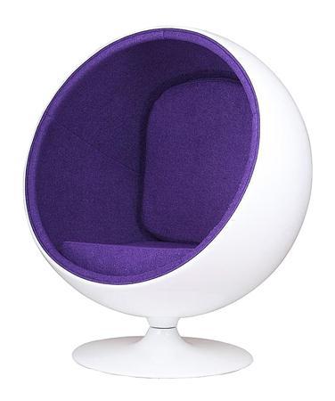 Купить Кресло Eero Ball Chair Бело-фиолетовое Шерсть