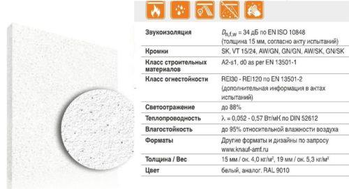 Технические характеристики минеральных потолочных плит AMF